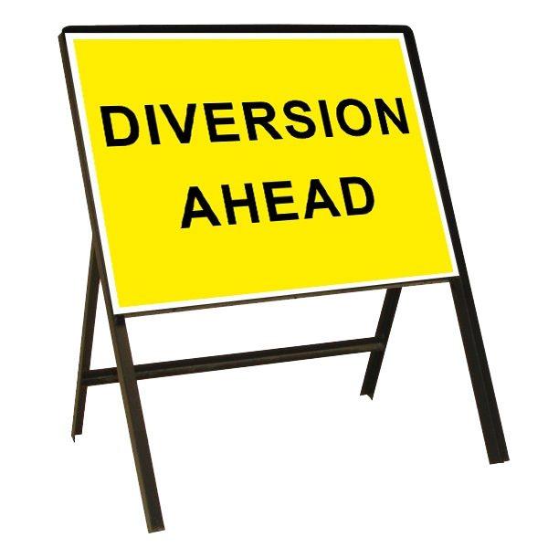 Diversion Ahead Metal Sign (1050mm x 750mm)