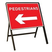 Pedestrians Arrow Left Metal Sign (600mm x 450mm)
