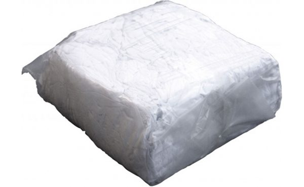 A bulk pack of white cotton rags.