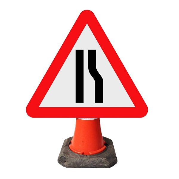 Road Narrows Right Cone Sign