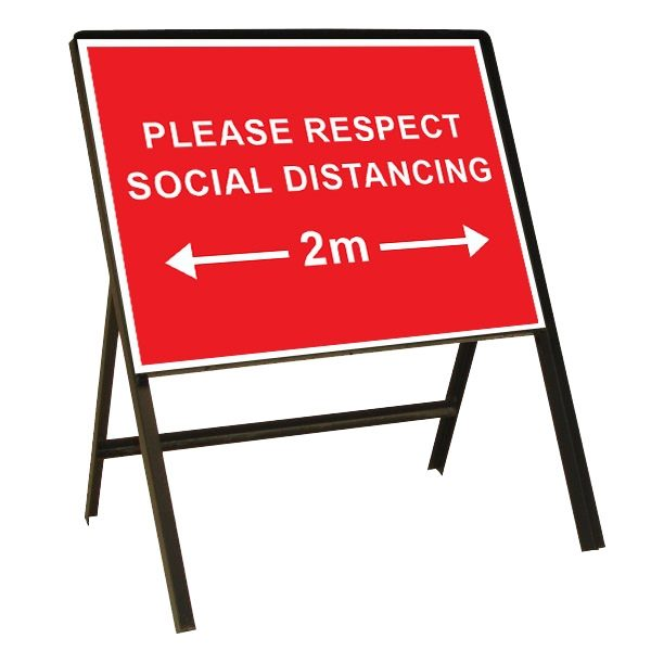 Please Respect Social Distancing Metal Sign (1050mm x 750mm)