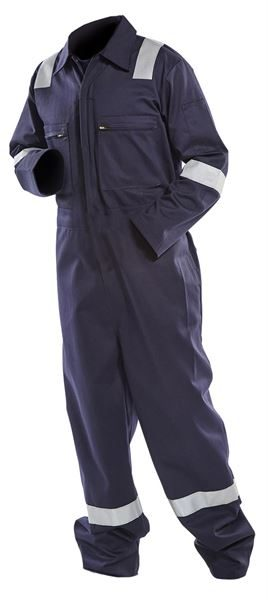 EF-21 FR/AS Boilersuit - (Navy) with Nordic Stripes