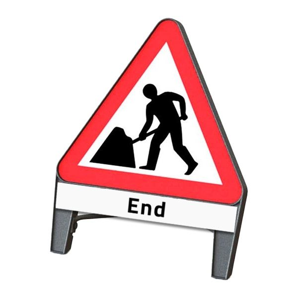 Men At Work End Q Sign
