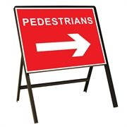 Pedestrians Arrow Right Metal Sign (600mm x 450mm)