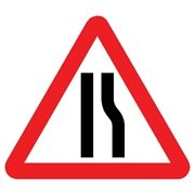 Road Narrows Right Mini Quick Fit Sign (750mm - 300mm Centres)