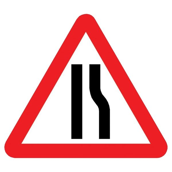 Road Narrows Right Mini Quick Fit Sign (750mm - 300mm Centres)