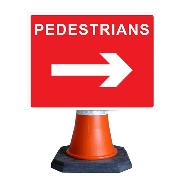Pedestrians Arrow Right Cone Sign (600mm x 450mm)