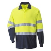 FR74 Two Tone A/S FR Hi-Vis Long Sleeve Polo Shirt (Yellow/Navy)