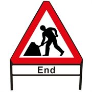Men At Work End Metal Sign