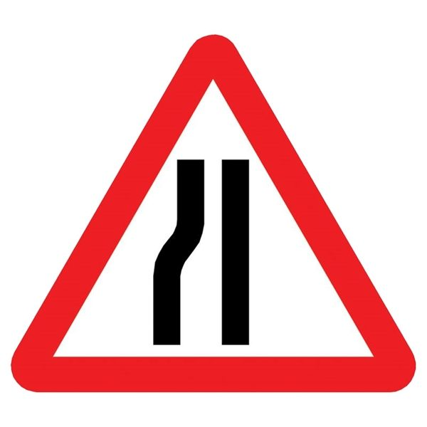 Road Narrows Left Mini Quick Fit Sign (750mm - 300mm Centres)