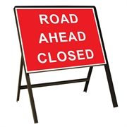 Road Ahead Closed Metal Sign (1050mm x 750mm)