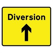 Diversion Ahead Arrow Mini Quick Fit Sign (1050mm x 750mm - 300mm Centres)