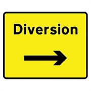 Diversion Right Arrow Mini Quick Fit Sign (1050mm x 750mm - 300mm Centres)