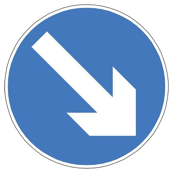 Blue Directional Arrow Mini Quick Fit Sign (750mm - 300mm Centres)