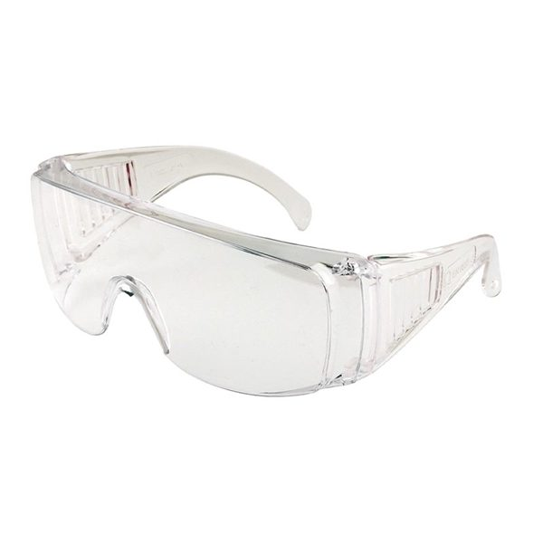 Ultra-lightweight spectacle, designed to be worn over prescription glasses. Its wide panoramic lens with moulded side shields and brow guard offers superior protection to the wearer.